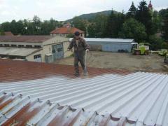 Nanesení antikorozní základní epoxidové barvy na plechovou střechu ( Středočeský kraj okres Beroun)