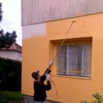 Nástřik protiplísňové fasádní barvy ( Středočeský kraj okres Rakovník)